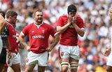 11.08.19 - England v Wales - World Cup Warm Up - Quilter International - A frustrated Ken Owens and Adam Beard of Wales.