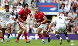 11.08.19 - England v Wales - World Cup Warm Up - Quilter International - Liam Williams of Wales is challenged by Willi Heinz of England.