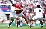 11.08.19 - England v Wales - Quilter International -Ross Moriarty of Wales is tackled by George Ford of England.