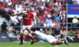 11.08.19 - England v Wales - Quilter International -Aaron Wainwright of Wales is tackled by Billy Vunipola of England.