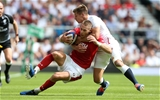 11.08.19 - England v Wales - World Cup Warm Up - Quilter International - Liam Williams of Wales is tackled by Piers Francis of England.
