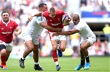 11.08.19 - England v Wales - Quilter International -Liam Williams of Wales takes on Ellis Genge and Jonathan Joseph of England.