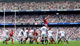 11.08.19 - England v Wales - Quilter International -Adam Beard of Wales takes line out ball.
