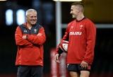 16.08.19 - Wales Rugby Training -Warren Gatland and Jonathan Davies during training.