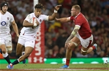 17.08.19 - Wales v England - RWC Warm Up - Under Armour Summer Series - Anthony Watson of England is tackled by Ross Moriarty of Wales.