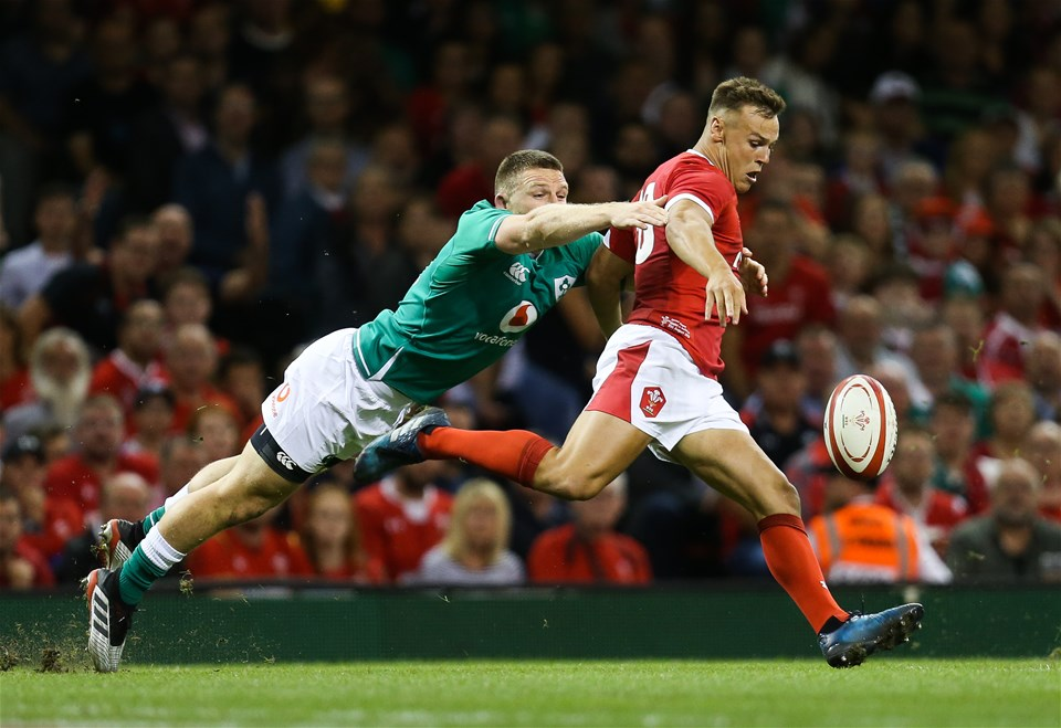 31.08.19 - Wales v Ireland, Under Armour Summer Series 2019 - Jarrod Evans of Wales clears the ball as Andrew Conway of Ireland tackles
