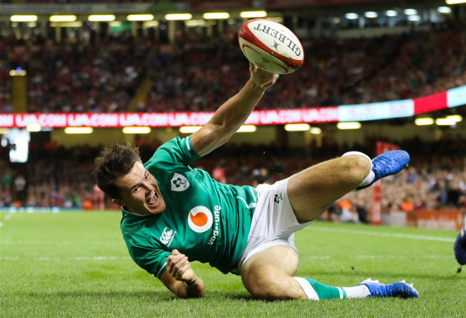 31.08.19 - Wales v Ireland, Under Armour Summer Series 2019 - Jacon Stockade of Ireland dives in to score try