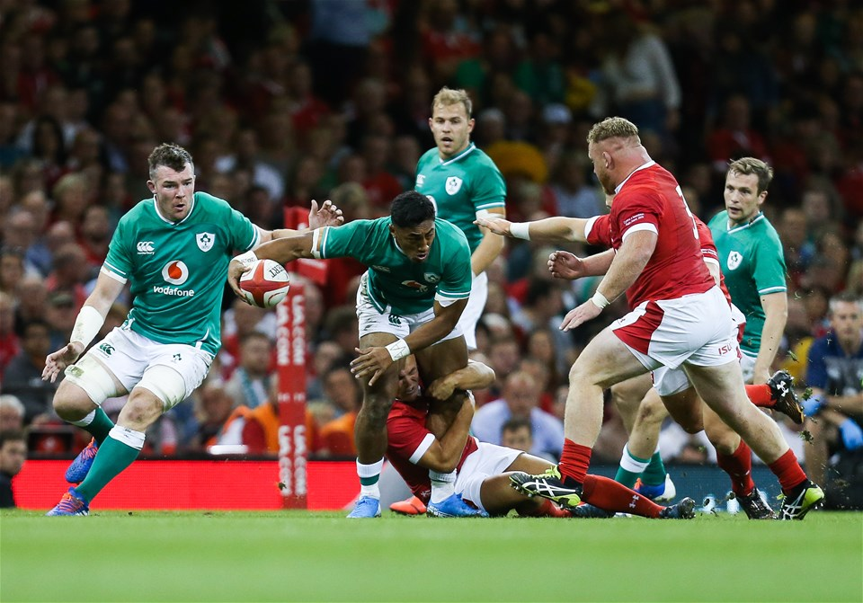 31.08.19 - Wales v Ireland, Under Armour Summer Series 2019 - Bundee Aki of Ireland looks to break away