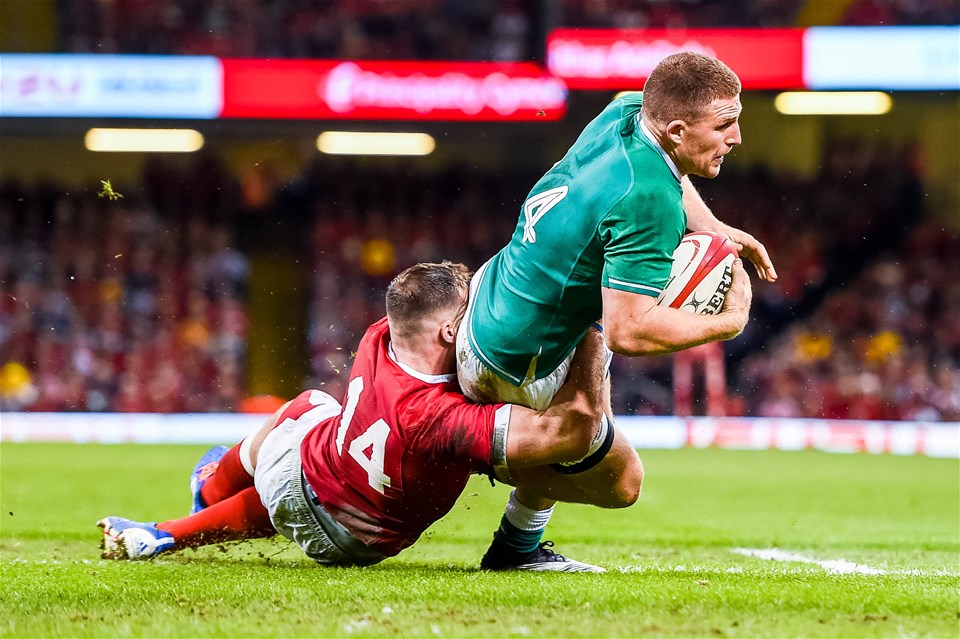 31.08.19 - Wales v Ireland, Under Armour Summer Series - RWC Warmup - Andrew Conway of Ireland is tackled by Owen Lane of Wales