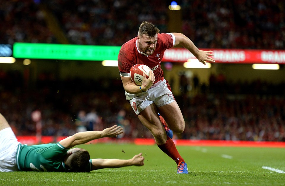 31.08.19 - Wales v Ireland - Under Armour Series -Owen Lane of Wales scores try.
