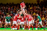 31.08.19 - Wales v Ireland, Under Armour Summer Series - RWC Warmup - Adam Beard of Wales wins line out ball