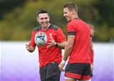 21.09.19 - Wales Rugby Training -Stephen Jones and Liam Williams during training.