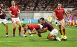 23.09.19 - Wales v Georgia - Rugby World Cup 2019 - Pool D - Liam Williams of Wales beats Soso Matiashvili of Georgia to score a try, securing their bonus point.
