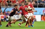 23.09.19 - Wales v Georgia - Rugby World Cup 2019 - Pool D - Josh Navidi of Wales is tackled by Beka Gorgadze of Georgia.