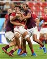 23.09.19 - Wales v Georgia - Rugby World Cup 2019 - Pool D - Josh Navidi of Wales is tackled by Beka Gorgadze and Miriani Modebadze of Georgia.