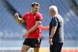 28.09.19 - Wales Rugby Training -Dan Biggar and Warren Gatland during training.