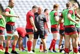 28.09.19 - Wales Rugby Training -Gareth Davies and Warren Gatland during training.