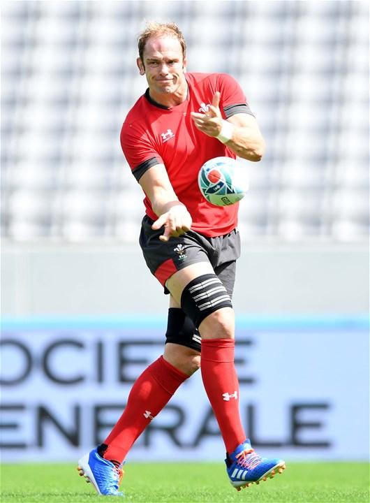 28.09.19 - Wales Rugby Training -Alun Wyn Jones during training.