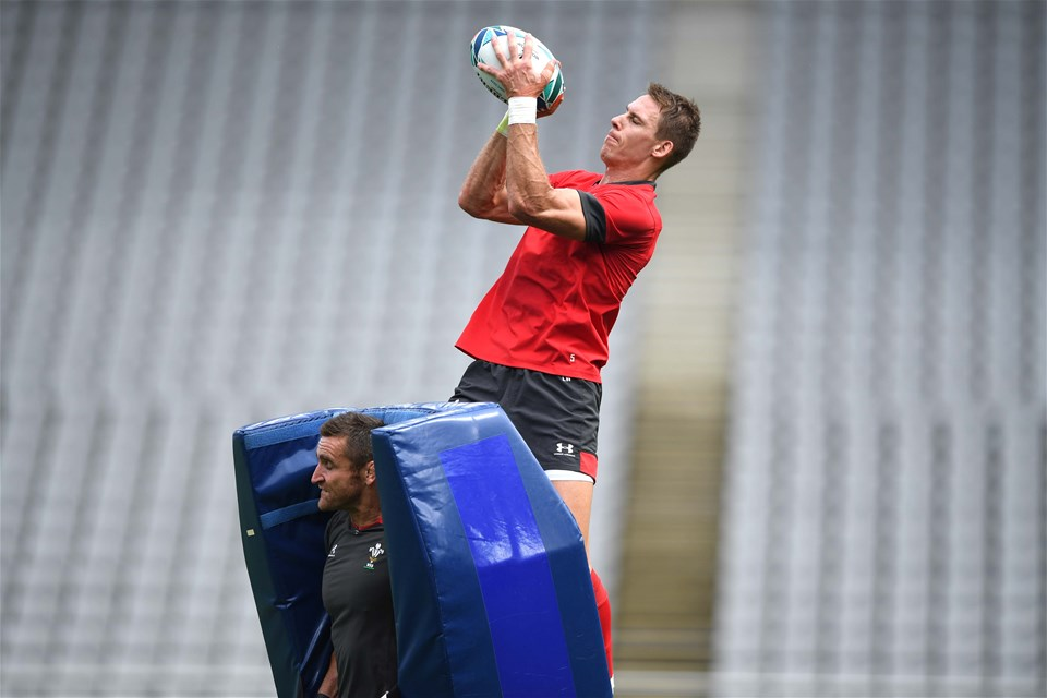 28.09.19 - Wales Rugby Training -Liam Williams during training.