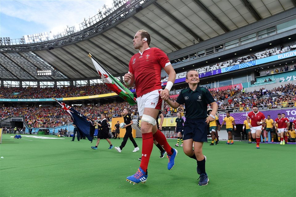 29.09.19 - Australia v Wales - Rugby World Cup - Alun Wyn Jones of Wales runs out onto the field.