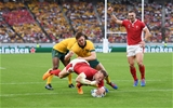 29.09.19 - Australia v Wales - Rugby World Cup - Hadleigh Parkes of Wales gets the high ball touch down the opening try of the game.