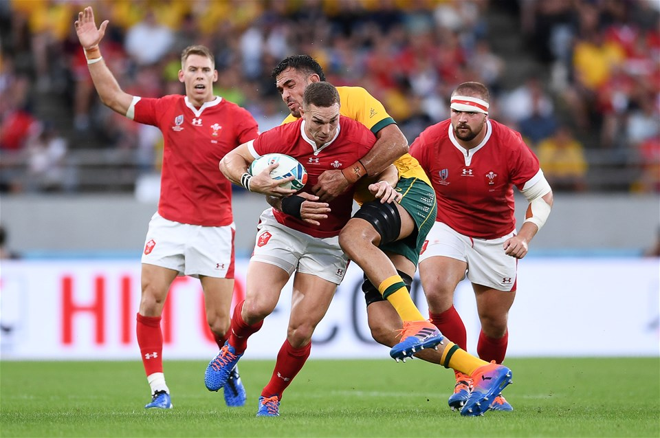 29.09.19 - Australia v Wales - Rugby World Cup - George North of Wales is tackled by Rory Arnold of Australia.