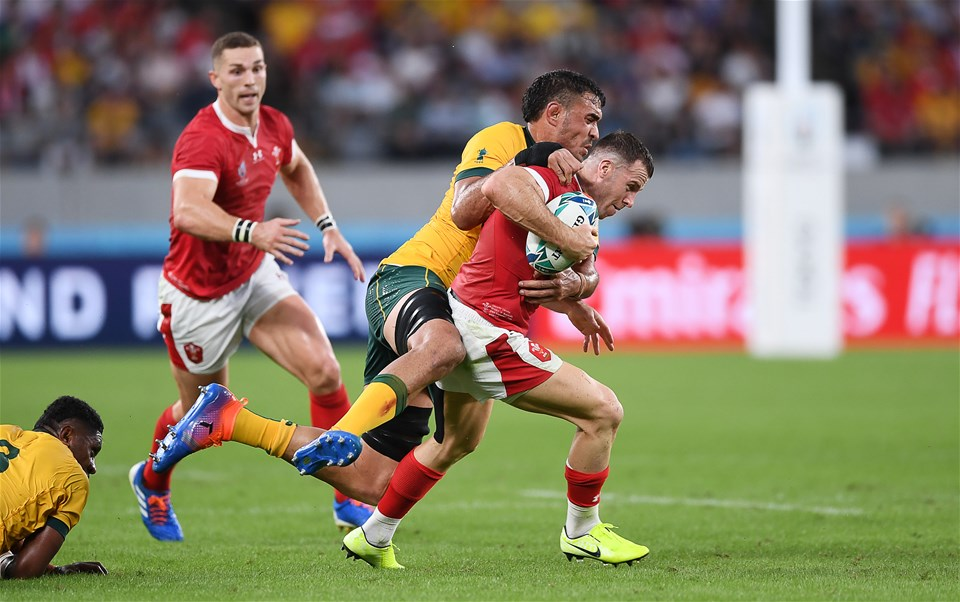 29.09.19 - Australia v Wales - Rugby World Cup - Gareth Davies of Wales is tackled by Rory Arnold of Australia.
