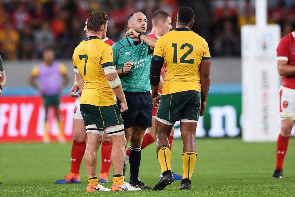 29.09.19 - Australia v Wales - Rugby World Cup - Referee Romain Poite talks to Samu Kerevi of Australia after he charged into Rhys Patchell.