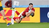 29.09.19 - Australia v Wales - Rugby World Cup - Gareth Davies of Wales runs in to score a try after incepting the ball.