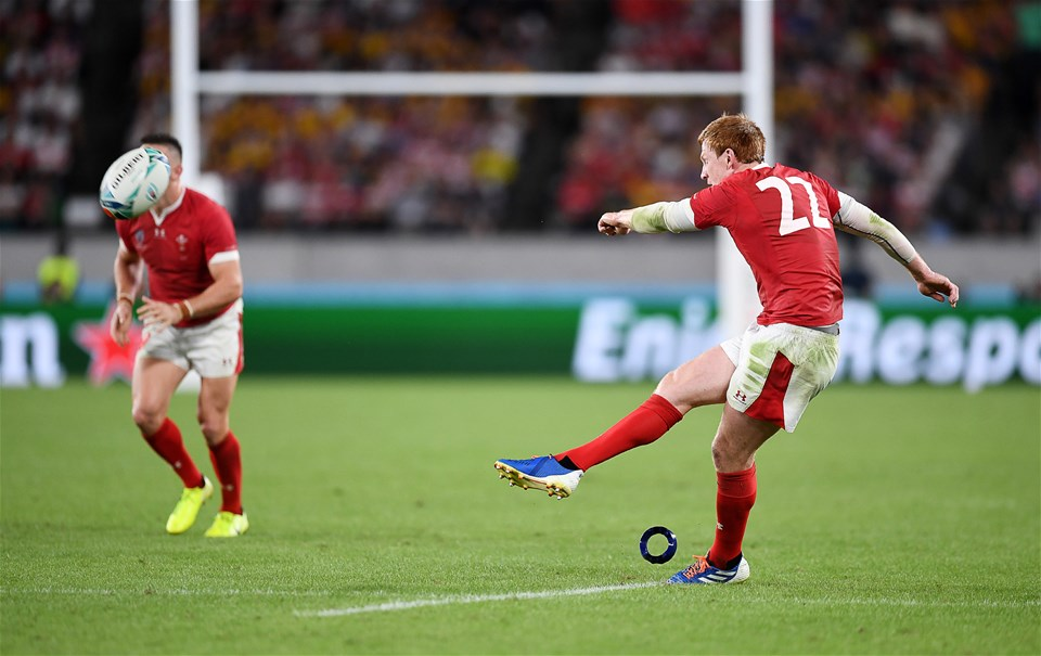 29.09.19 - Australia v Wales - Rugby World Cup - Rhys Patchell of Wales kicks a penalty.