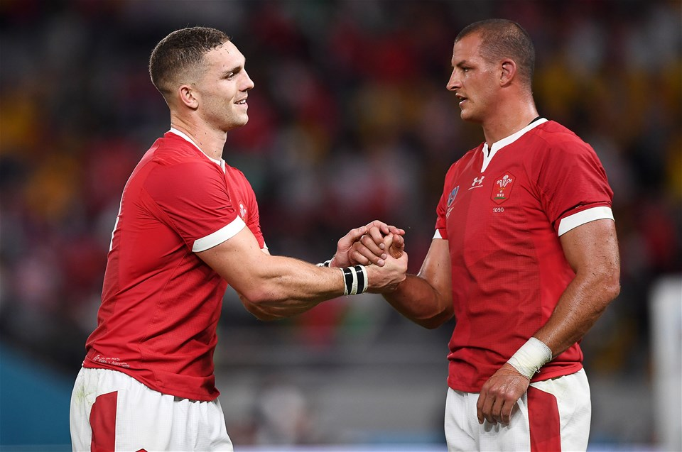 29.09.19 - Australia v Wales - Rugby World Cup - George North and Aaron Shingler of Wales shake hands at full time.