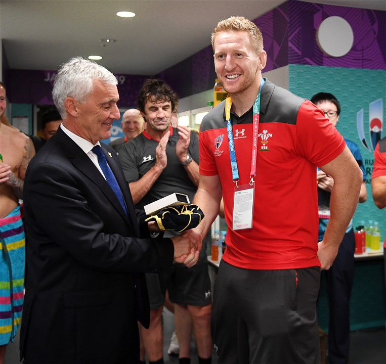29.09.19 - Australia v Wales - Rugby World Cup - Bradley Davies presented by WRU Chairman Gareth Davies.