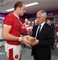 29.09.19 - Australia v Wales - Rugby World Cup - Alun  Wyn Jones presented by WRU Chairman Gareth Davies.