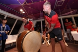 01.10.19 - Wales Rugby Welcome to Otsu - George North and Ross Moriarty while on a boat cruise of Lake Biwa-Ko during a welcome to Otsu evening.