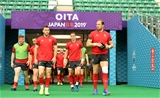 08.10.19 - Wales Rugby Training -Gareth Davies and Alun Wyn Jones during training.