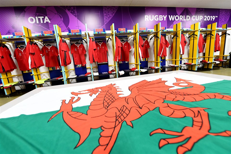 09.10.19 - Wales v Fiji - Rugby World Cup -Wales dressing room.