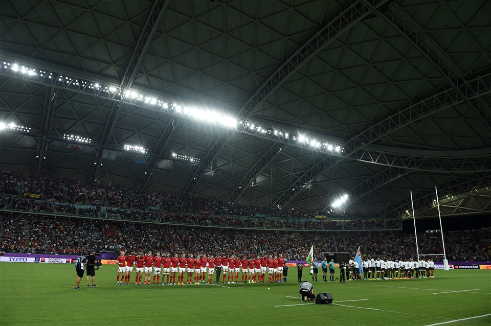 09.10.19 - Wales v Fiji - Rugby World Cup - Pool D - Wales during the anthem.