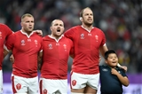 09.10.19 - Wales v Fiji - Rugby World Cup - Pool D - Ross Moriarty, Ken Owens and Alun Wyn Jones of Wales during the anthem.
