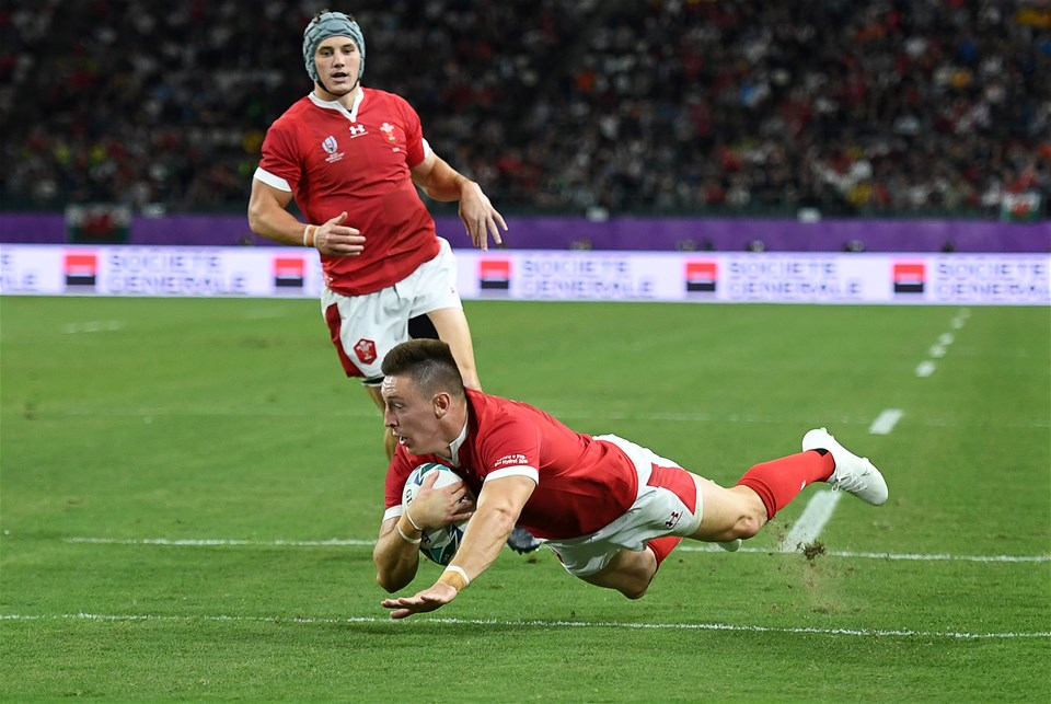 09.10.19 - Wales v Fiji - Rugby World Cup - Pool D - Josh Adams of Wales dives over the score a try.