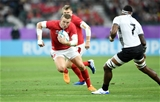 09.10.19 - Wales v Fiji - Rugby World Cup - Pool D - Hadleigh Parkes of Wales is challenged by Semi Kunatani of Fiji.