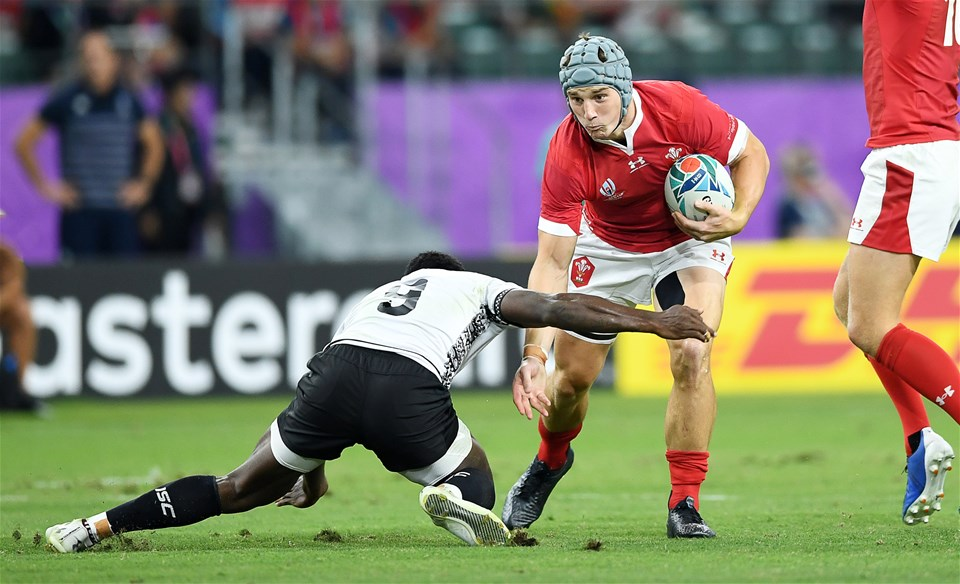 09.10.19 - Wales v Fiji - Rugby World Cup - Pool D - Jonathan Davies of Wales is tackled by Frank Lomani of Fiji.