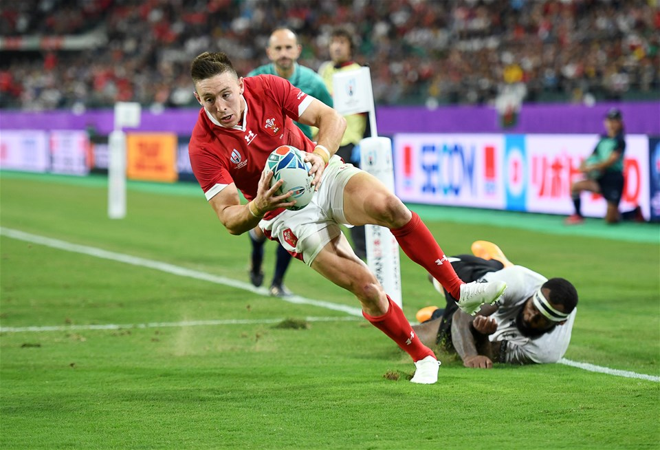 09.10.19 - Wales v Fiji - Rugby World Cup - Pool D - Josh Adams of Wales escapes the tackle of Levani Botia of Fiji to score a try.