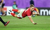 09.10.19 - Wales v Fiji - Rugby World Cup - Pool D - Liam Williams of Wales dives over the line to score a try.