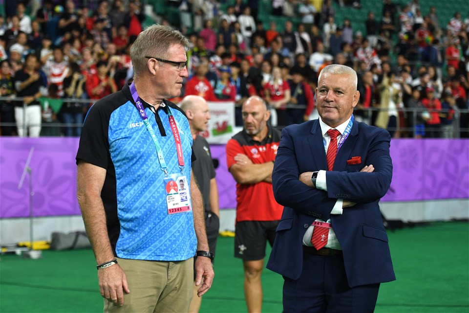 09.10.19 - Wales v Fiji - Rugby World Cup -Fiji head coach John McKee and Wales head coach Warren Gatland at the end of the game.