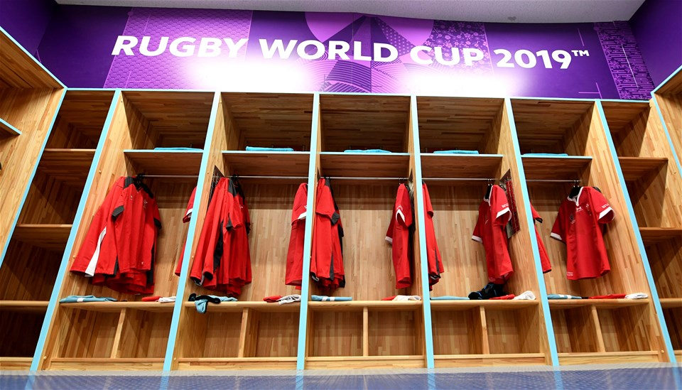 13.10.19 - Wales v Uruguay - Rugby World Cup -Wales dressing room.