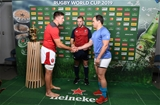13.10.19 - Wales v Uruguay - Rugby World Cup - Pool D - Justin Tipuric of Wales and Juan Manuel Gaminara at the coin toss.