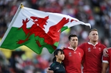 13.10.19 - Wales v Uruguay - Rugby World Cup - Pool D - Justin Tipuric and Bradley Davies of Wales during the anthems.