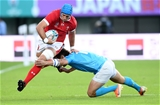 13.10.19 - Wales v Uruguay - Rugby World Cup - Pool D - Justin Tipuric of Wales escapes the tackle of Nicolas Freitas of Uruguay.