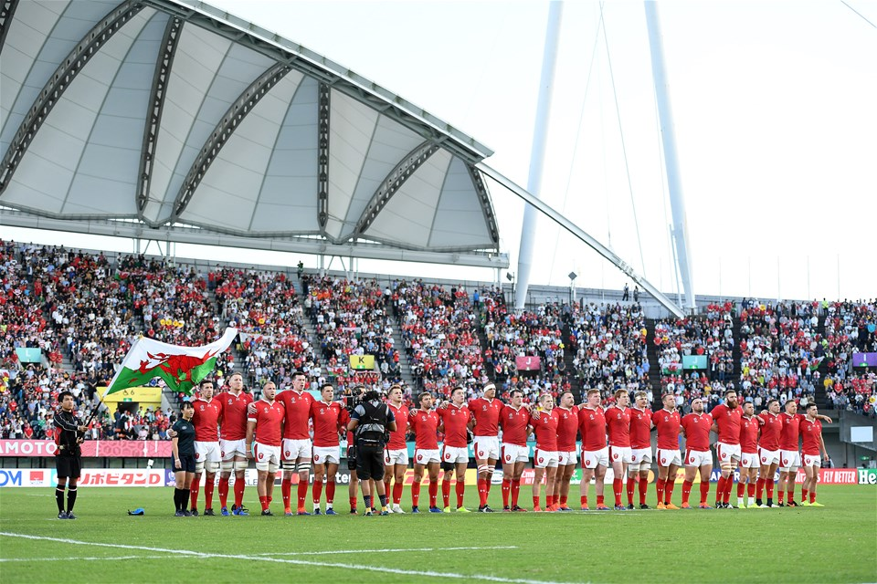 13.10.19 - Wales v Uruguay - Rugby World Cup - Pool D - Wales sing the anthem.