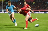 13.10.19 - Wales v Uruguay - Rugby World Cup - Pool D - Josh Adams of Wales scores a try.